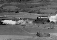 A locomotive is blown up by a Thunderbolt in an attack made on 17 April 1945 near Kaaden, Germany.