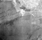 Photos taken during and after the attack made on the Headquarters of the German Commander-in-Chief, West, by Thunderbolts of the 367 Group on 19 March. Interrogation of an officer PW later revealed that the 1,000 lb. Bombs which almost completely destroyed the headquarters, also wounded Field Marshal Kesselring, who had just replaced Field Marshal Gerd von Runstedt as C-in-C, West.