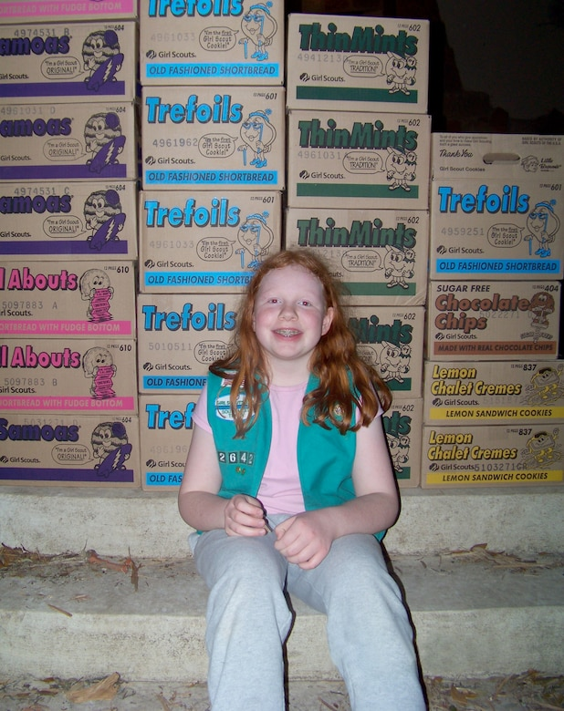 Madison Albrecht, 11, recently collected more than 200 boxes of Girl Scout cookie donations for troops overseas. (Courtesy photo)
