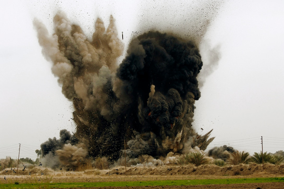 An al-Qaida torture compound and prison is destroyed after being hit with six guided bomb unit-38 Joint Direct Attack Munitions from a B-1B Lancer at 2:07 p.m. March 10 in Zenbaraniyah, Iraq. (U.S. Air Force photo/Master Sgt. Andy Dunaway)