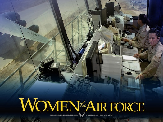 Senior Airmen Sherrilyn Ceja and Nicole Lundie control aircraft flying into and out of Balad Air Base, Iraq.  Women in the Air Force are featured this month on Air Force Link with photos and downloadable posters.  (U.S. Air Force illustration/Virginia Reyes)