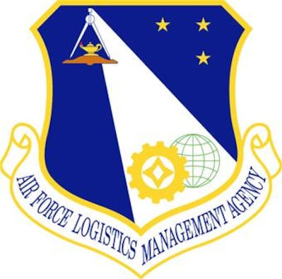 Air Force Logistics Management Agency shield (color), U.S. Air Force graphic.  In accordance with Chapter 3 of AFI 84-105, commercial reproduction of this emblem is NOT permitted without the permission of the proponent organizational/unit commander.