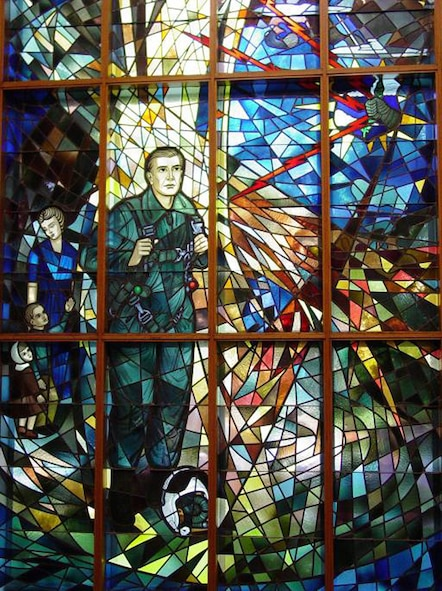 The Memorial Window at the SAC Memorial Chapel on Offutt AFB, Neb., honors the sacrifices and service of all Airmen who served in Strategic Air Command. Offutt will hold a SAC Memorial Sunday service at 3 p.m. Sunday at the SAC Memorial Chapel. All members of Team Offutt are invited. For more information, call 294-6244.