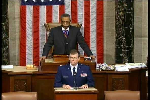 Chaplain Maj. William Dickens, 445th Airlift Wing Chaplain, gives the invocation at the Capital Building for the U.S. House of Representatives in Washington D.C., Feb. 12, 2008. (U.S. Air Force photo)