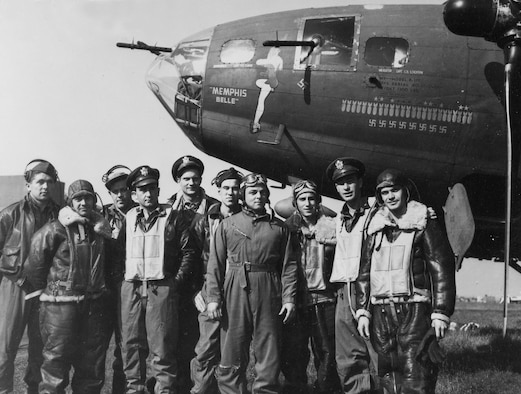 "The crew of the ""Memphis Belle""® after their 25th mission: (l to r) TSgt. Harold Loch (top turret gunner/engineer), SSg.t Cecil Scott (ball turret gunner), TSgt. Robert Hanson (radio operator), Capt. James Verinis (copilot), Capt. Robert Morgan (pilot), Capt. Charles Leighton (navigator), SSgt. John Quinlan (tail gunner), SSgt. Casimer Nastal (waist gunner), Capt. Vincent Evans (bombardier), and SSgt. Clarence Winchell (waist gunner). (U.S. Air Force photo)"