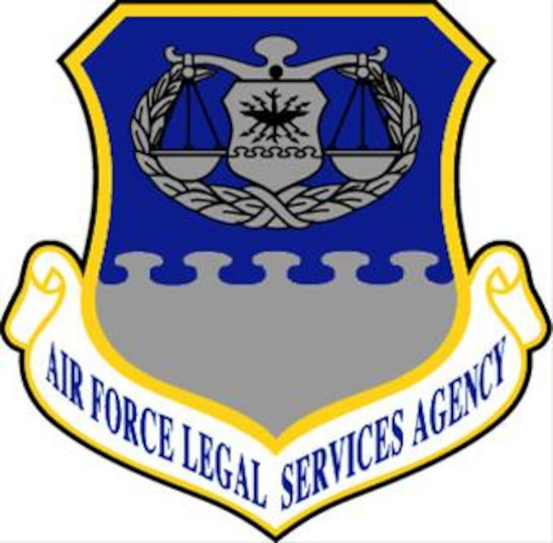 Air Force Legal Services Agency shield -- The Air Force Legal Services Center was renamed the Air Force Legal Services Agency on 1 May 1991 as a result of a reorganization of the The Judge Advocate General's Department (which itself was renamed The Judge Advocate General's Corps in 2003).  U.S. Air Force graphic.  In accordance with Chapter 3 of AFI 84-105, commercial reproduction of this emblem is NOT permitted without the permission of the proponent organizational/unit commander.