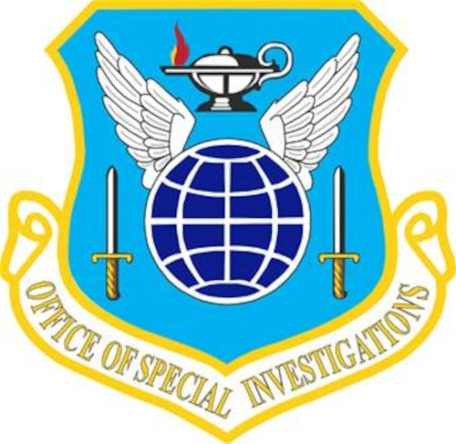 Office of Special Investigations (OSI) shield (color), U.S. Air Force graphic.  In accordance with Chapter 3 of AFI 84-105, commercial reproduction of this emblem is NOT permitted without the permission of the proponent organizational/unit commander.