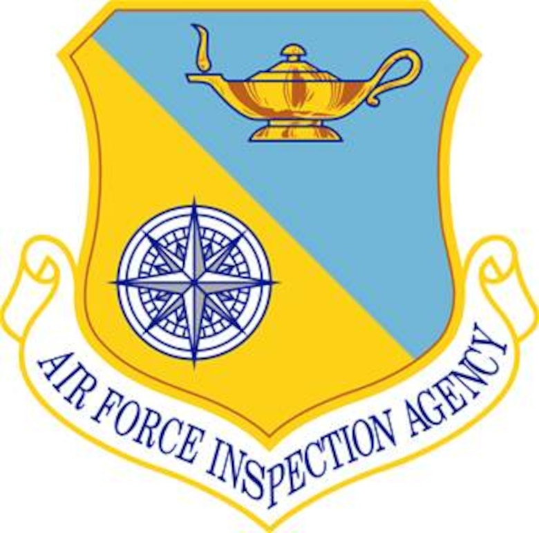 Air Force Inspection Agency shield (color), U.S. Air Force graphic.  In accordance with Chapter 3 of AFI 84-105, commercial reproduction of this emblem is NOT permitted without the permission of the proponent organizational/unit commander.