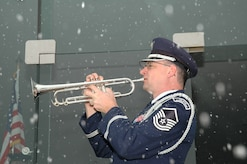 Master Sergeant Jeffry Hatfield, from the United States Air Force Academy Band, playing taps for a funeral on March 14th, 2008.