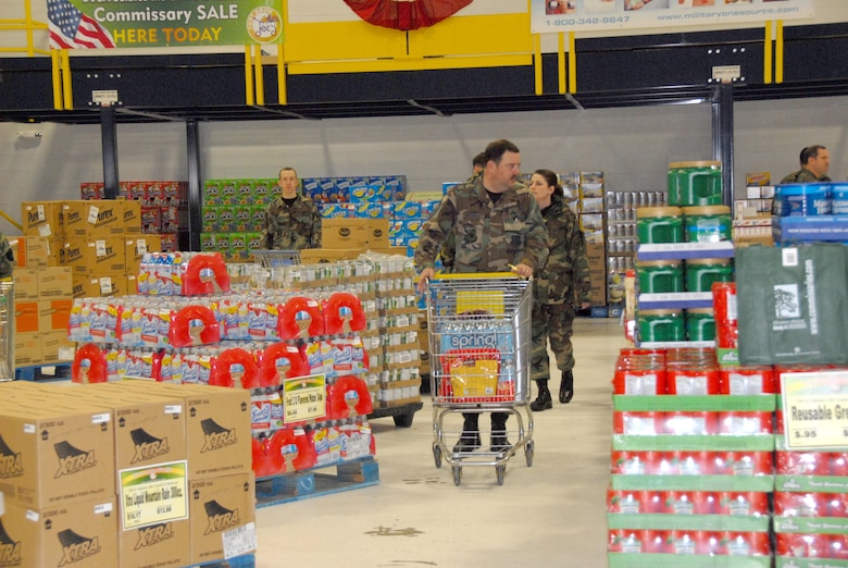 Airmen of the 107th Air Refueling Wing shop at the commissary that was brought to the Niagara Falls Air Reserve Station on March 8 and 9 by the Defense Commissary Agency.