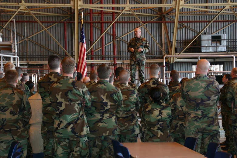 Col. Keith Frede, 552nd Maintenance Group commander, congratulates his Airmen after their successful completion of the ACC LSET inspection. The group received an above-average 89.5 percent rating.