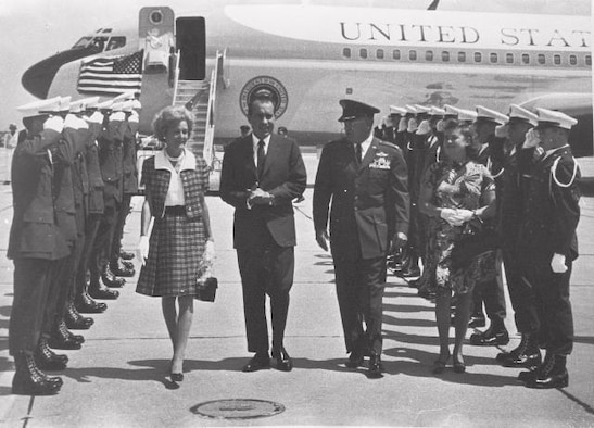 LAUGHLIN AIR FORCE BASE, Texas –Former President Richard M. Nixon lands at Laughlin with his wife Pat and Col. Donald D. Ferris, former Laughlin commander, to attend a dedication ceremony Sep. 8, 1969.  (Contributed photo)