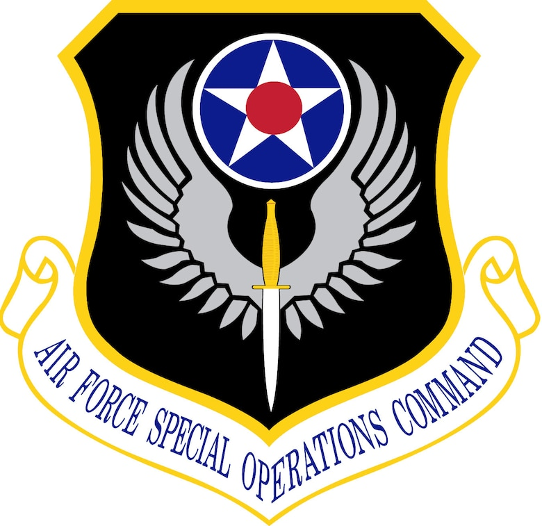 Air Force Special Operations Command (AFSOC) Shield (Color), U.S. Air Force graphic.  In accordance with Chapter 3 of AFI 84-105, commercial reproduction of this emblem is NOT permitted without the permission of the proponent organizational/unit commander.