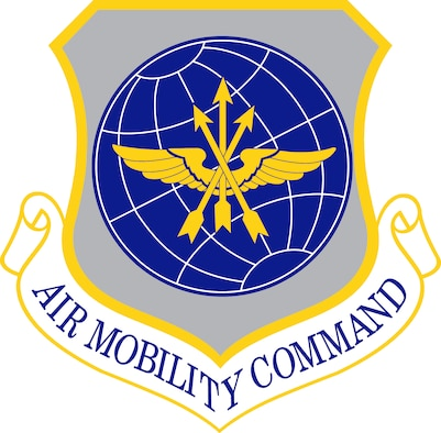 Air Mobility Command (AMC) shield (color), U.S. Air Force graphic.  In accordance with Chapter 3 of AFI 84-105, commercial reproduction of this emblem is NOT permitted without the permission of the proponent organizational/unit commander.