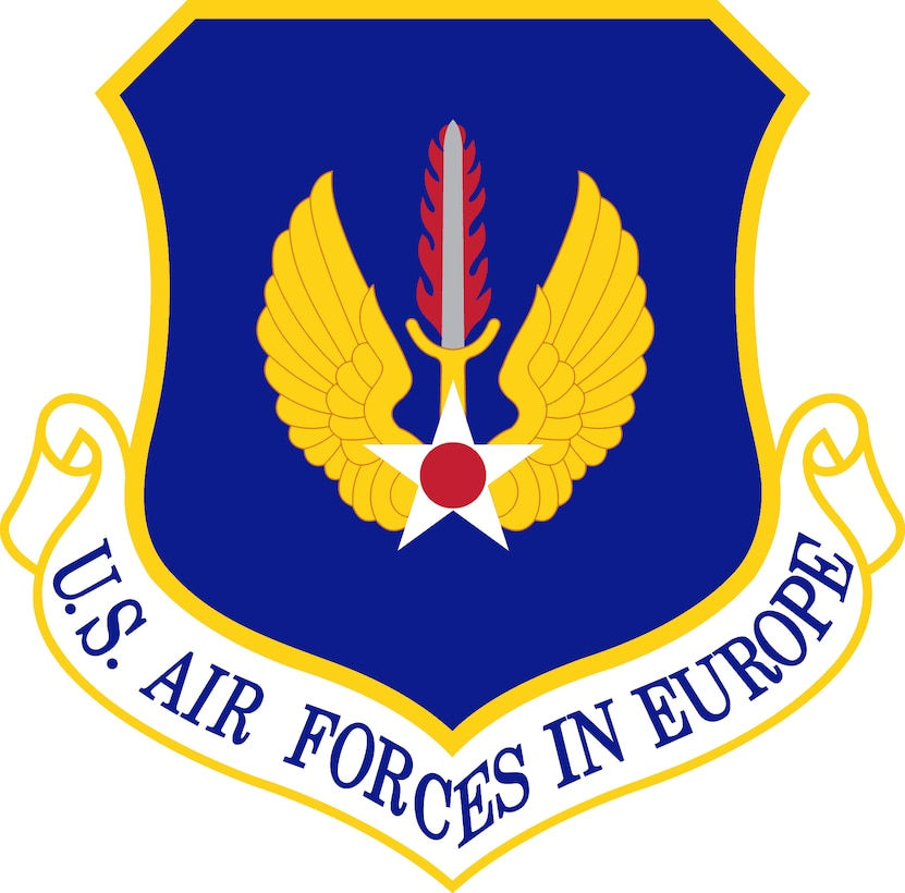 U.S. Air Forces in Europe Shield (Color). Image provided by the Air Force Historical Research Agency. In accordance with Chapter 3 of AFI 84-105, commercial reproduction of this emblem is NOT permitted without the permission of the proponent organizational/unit commander. The image is 6x6 inches @ 300 ppi