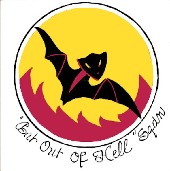 On and over a yellow disc with a black border a black bat, outlined in red, wings displayed, flying over a mass of red flames issuing from the lower border of the disc. (Approved 17 Feb 1942.)