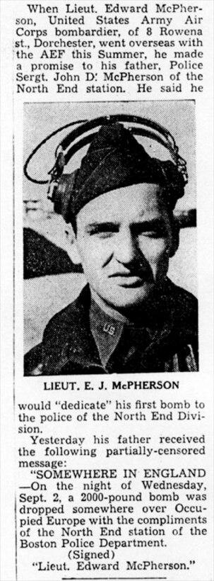 Lt. Edward J. McPherson, USAAC Bombardier keeps promise.