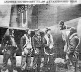 Former Bat, Captain Billy Southworth, Jr., son of the manager of the world's champion St. Louis National League Baseball team, climbing out of United States Bomber somewhere in England after piloting it on one of the first all-American air raids on Germany. Other members of the crew are Sgt Ward W. Kirkpatrick, Technical Sergeant Lucian W. Means, First Lieutenant Milton W. Conver, Second Lieutenant and Co-Pilot John W. Dillinger, and Sergeant Jack Belk.