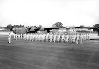 Lt. Col. Bent in front of Squadron, August 1943.