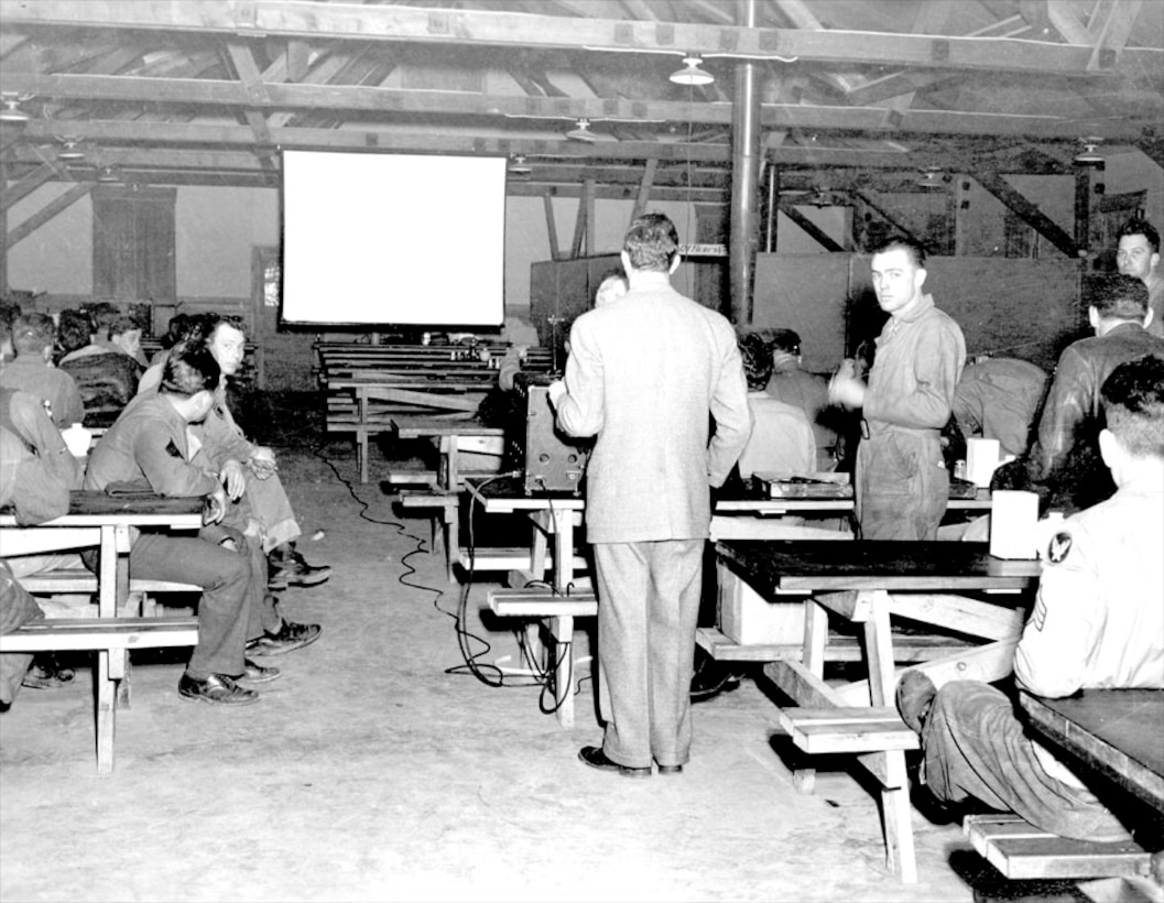 USO movie in mess hall, 1942.
