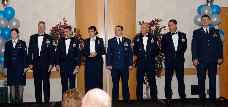 The 2007 Arizona Air National Guard Airman of the Year award winners are, from left to right: Senior Airman Jamie Hawkins, Airman of the Year; Master Sgt. Brian Thomas, Noncommissioned Officer of the Year; Senior Master Sgt. Daniel Gutierrez, Senior Noncommissioned Officer of the Year; Master Sgt. Diana Aragon, First Sergeant of the Year; Staff Sgt. Jared Davis, Honor Guard Member of the Year; Capt. Patrick McDonnell, Junior Officer of the Year; and Tech. Sgt. Joseph Duyck, the Command Chief Master Sergeant Award winner.