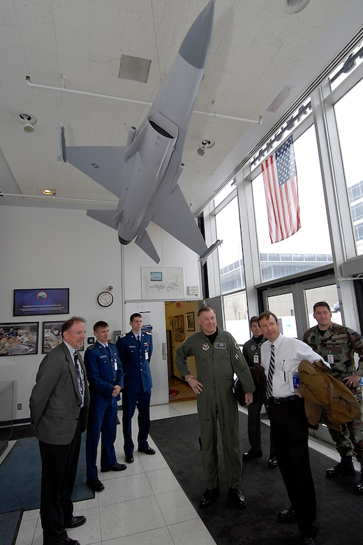 (Middle) Maj. Gen. Stephen T. Sargeant, Air Force Operational Test and Evaluation Center Commander, is greeted by U.S. Air Force Academy faculty members and cadets during a March 17, 2008 visit that included the formal signing of a memorandum of agreement between AFOTEC and the USAFA creating a comprehensive mentoring program to assist Academy cadets during their academic and professional development.
