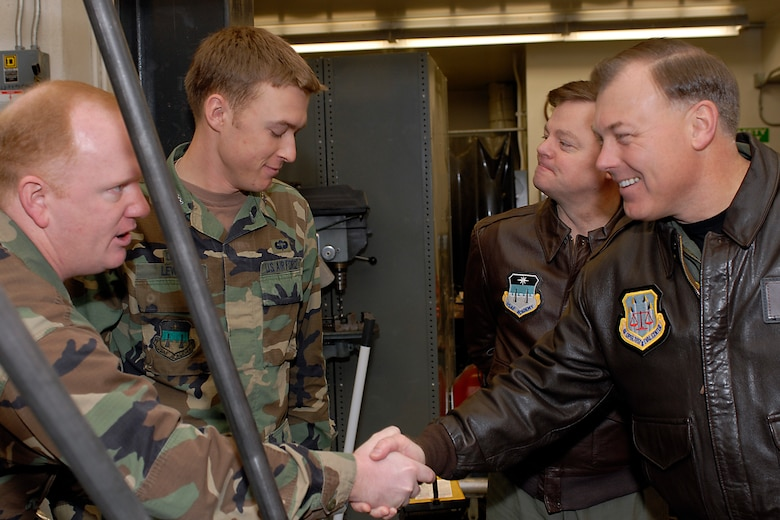 (Right) Maj. Gen. Stephen T. Sargeant, Air Force Operational Test and Evaluation Center Commander, meets and visits with U.S. Air Force Academy cadets during a March 17, 2008 visit that included a tour of Academy astronautics classes and laboratories.
