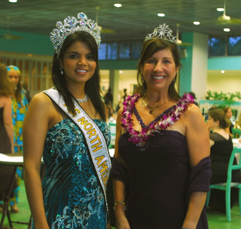 From left, Reyna Padilla-Rahman (Mrs. North America 2007 as invited guest) and Irene Torres (wife of Commander, 15th Airlift Wing)