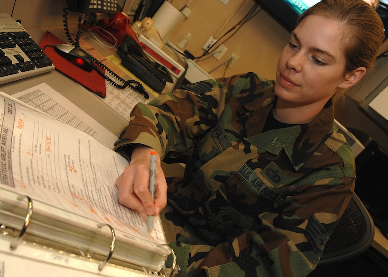 Staff Sgt. Claire Amirault, 355th Fighter Wing Command Post, fills out the checklist after having a notification of an innocent that happened off base. The checklist is used to make sure all the personnel that need to know are contacted. The command post is responsible for communicating with the base to make sure all units get the information needed throughout the base and the chain of command. (Photo By USAF: Senior Airman Jacqueline Hawkins)