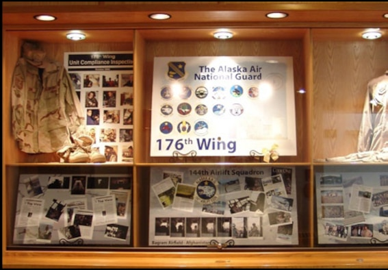 From October 2006 through December 2006, this exhibit at the Anchorage Readiness Center on Ft. Richardson highlighted an inspection of the 176WG, and a deployment of the 144AS. Photo by MSgt. Robert M. Braley, Jr.