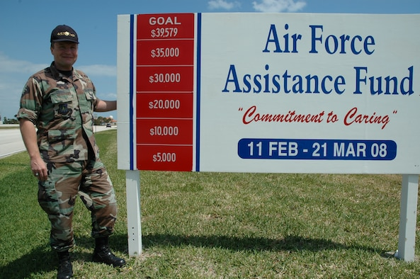 Maj. Brett Coons of the 45th Medical Group shows off the Air Force Assistance Fund sign near the South Gate on Patrick AFB that lets visitors know the campaign met it's goal of $39,579. (U.S. Air Force photo by Airman David Dobrydney)