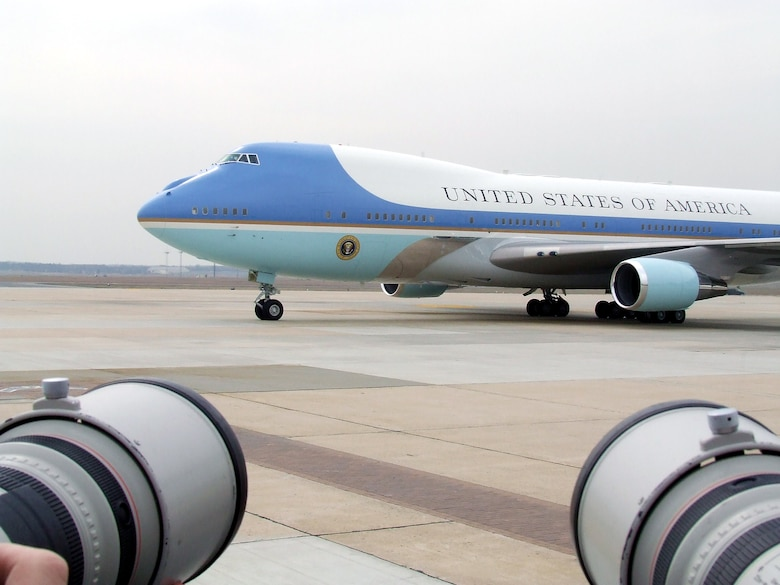 Air Force One, the airplane carrying the President of the United States, George Bush, taxis in for parking after arriving at McGuire Air Force Base, N.J., March 28, 2008.  Airmen, distinguished visitors, and the press were on hand for the President's arrival.  (U.S. Air Force Photo/Tech. Sgt. Scott T. Sturkol)