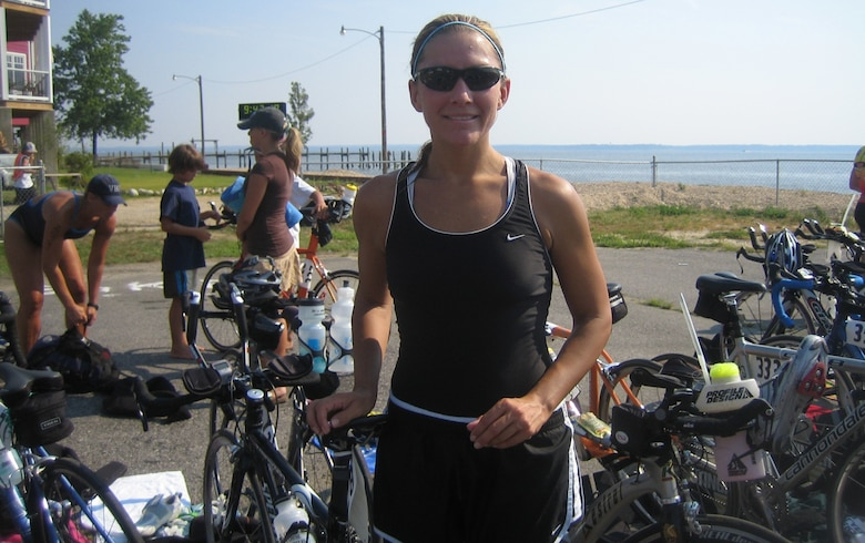 Senior Master Sgt. Jennifer Burg pauses after a hard day's work at the Colonial Beach (Va.) Triathlon (International Distance) July 15, 2007, which she completed in 2 hours, 37 minutes, 30 seconds, her best time to date at the International Distance. (Photo courtesy of Senior Master Sgt. Jennifer Burg.)