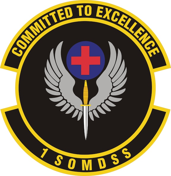 1st Special Operations Medical Support Squadron: Ultramarine blue and Air Force yellow are the Air Force colors.  Blue alludes to the sky, the primary theater of Air Force operations.  Yellow refers to the sun and the excellence required of Air Force personnel.  The winged dagger attached to a disc with the red cross represents the medical support the 1 SOMDSS provides to AFSOC for delivery of special operations globally.