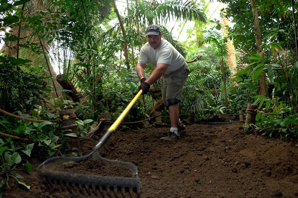 Staff Sgt. Phillip Farrior, NCO of administrative actions at the 55th Legal Office, rakes the lower level path at the Henry Doorly Zoo's Leid Jungle. Offutt has been involved in the annual cleanup of the Henry Doorly Zoo for more than 10 years. Hundreds of volunteers clean, paint and generally spruce up facilities and enclosures in the Spring of each year. (U.S. Air Force Photo By/Josh Plueger)