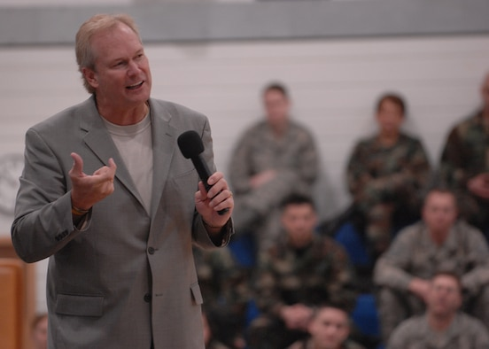 Dan Clark addresses Liberty Airmen April 24 at the Lakenheath Fitness Center at RAF Lakenheath, England. Mr. Clark told several motivational stories and encouraged Airmen to demand excellence of themselves. (U.S. Air Force photo by Airman 1st Class John Easterling)