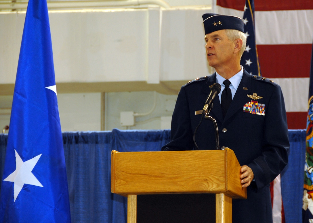 Maj. Gen. Robert A. Knauff, New York Air National Guard Commander addresses the assembled crowd during the 174 FW Change of Command Ceremony.