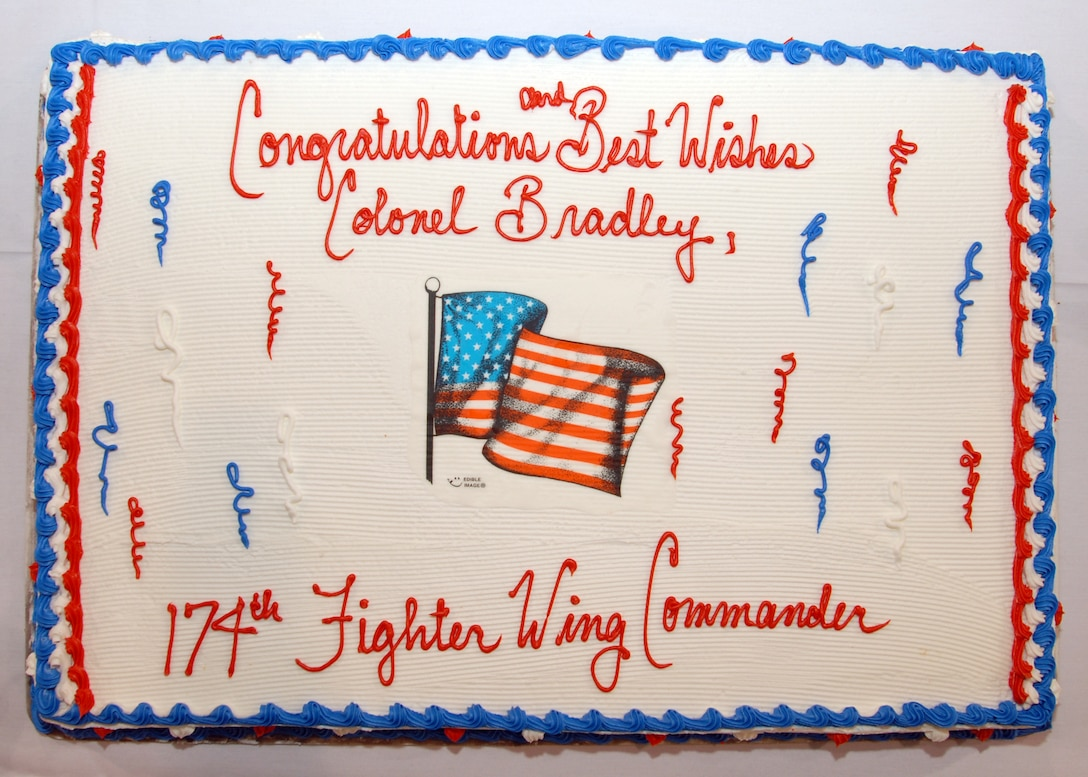 Congratulatory cake celebrating Col. Kevin W. Bradley as the Commander of the 174th Fighter Wing.