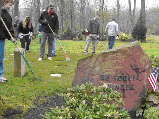 Members of the U.S. Air Forces in Europe Top 3 and their family members volunteer to clean the Kaiserslautern American Kindergraves. The Ramstein Area Chief's Group and German-American and International Women's Club provide oversight to the 451 children's graves.