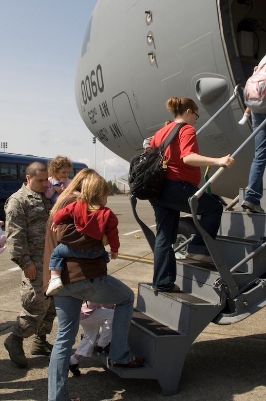 McChord Airmen and their families board a static C-17 Globemaster III as part of the Military Child festivities on April 25.