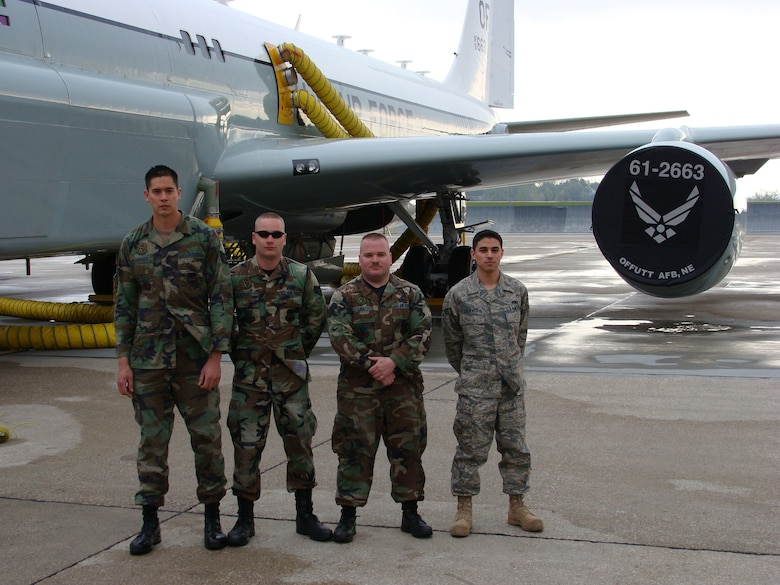 From left, Staff Sgt. David Loffeld and Senior Airmen Brian Schmidt, Anthony Liss and Kenneth Jarvis have earned their induction into the black letter flight club with the Cobra Ball 61-2663. A black letter flight is one with zero discrepancies on required forms before take-off. (U.S. Air Force Photo By/Tech Sgt. Jonathan Jenkins)