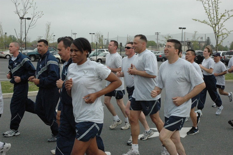MCGUIRE AIR FORCE BASE, NJ - Reserve senior noncommissioned officers participate in a fitness run at the end of a Reserve drill workday. The monthly run gives  514th Air Mobility Wing members an opportunity to sing cadence while exercising as a group. (U.S. Air Force photo/Senior Airman William P. O'Neil III)