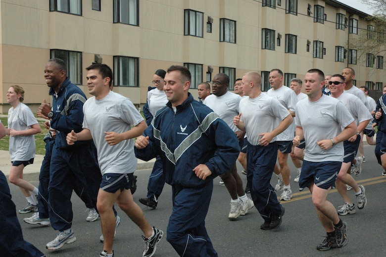 MCGUIRE AIR FORCE BASE, NJ - Airmen participate in a fitness run at the end of their Reserve drill workday. The monthly run gives  514th Air Mobility Wing members an opportunity to sing cadence while exercising as a group. (U.S. Air Force photo/Senior Airman William P. O'Neil III).