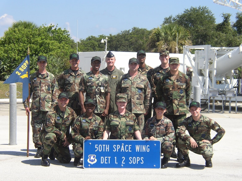 The members of Detachment 1, 2nd Space Operations Squadron sit at Cape Canaveral in April 2007. (U.S. Air Force photo courtesy of Tech. Sgt. Kelly Robles)