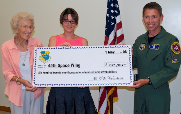 "Col. Stephen Butler, 45th Space Wing vice commander, accepts a ""check"" in the amount of $621,107 from Mary Rike, left, and Tamara Johnson at the Volunteer Appreciation Ice Cream Social at the Airman and Family Readiness Center May 1. The check represents the amount of money volunteers save the Wing each year. ""When you see the actual 'number' of how much our volunteers contribute, you really have to step back and reflect on how very lucky we are,"" said Colonel Butler. (U.S. Air Force photo by Jim Laviska)"