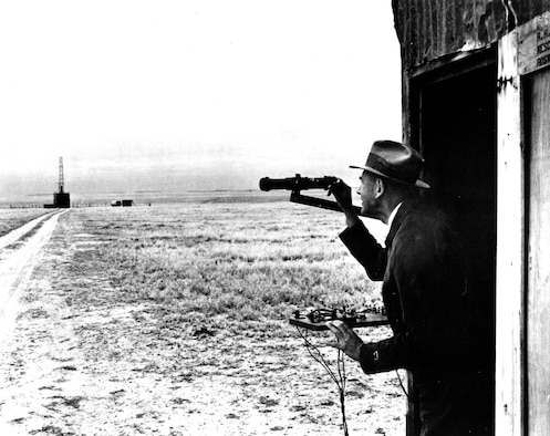 Goddard watches a New Mexico launch from a safe distance. (U.S. Air Force photo)