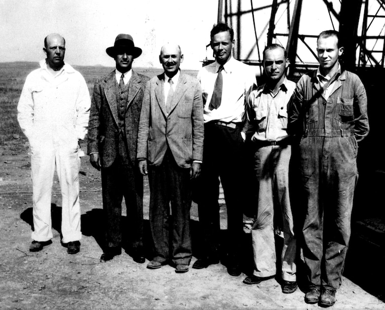 Goddard with supporters in New Mexico, 1935. (left to right) Assistant Albert Kisk, financier Harry Guggenheim, Goddard, Charles Lindbergh and assistants Nils Ljungquist and Charles Mansur. (U.S. Air Force photo)