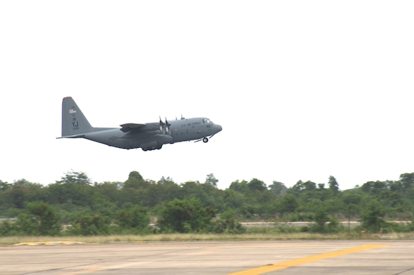 UTAPAO, Thailand - A C-130 Hercules flown in from Yokota Air Base, Japan, departs Utapao International Airport for the first flight into Burma to provide humanitarian relief to the victims of Cyclone Nargis May 12. (USAF Photo/Senior Airman Sonya Croston)