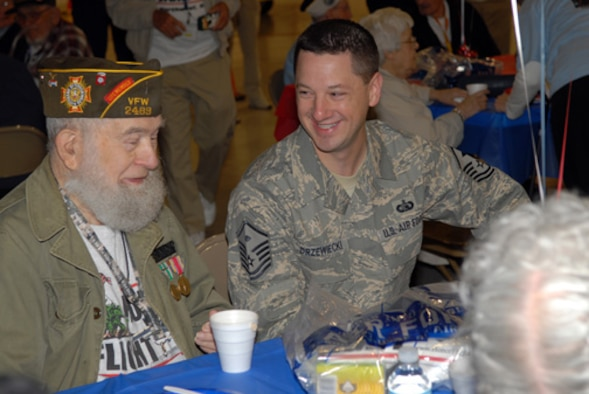 Master Sergeant Norm Drzwiecki, a First Sergeant at the 180th Fighter Wing, OHANG, shares a laugh with World War II veteran, Merle Altaffer during a breakfast sponsored by the the Honor Flight of Northwest Ohio committee on March 30, 2008. After the breakfast, Mr. Altaffer and 28 other WW II veterans made a long awaited trip to Washington D.C. to visit the WW II memorial, see the Changing of the Guards and to have lunch with Ohio Congress Woman Marcy Kaptur. The Honor Flight mission is to transport America's veterans to Washington D.C. to see the memorials that have been dedicated to honor them, all free of charge to the veterans. Mr. Altaffer served in the Army as a combat infantryman from 1943 to 1946 under General George S. Patton and was part of the invasion of South France. USAF Photo by TSgt Beth Holliker (Released).