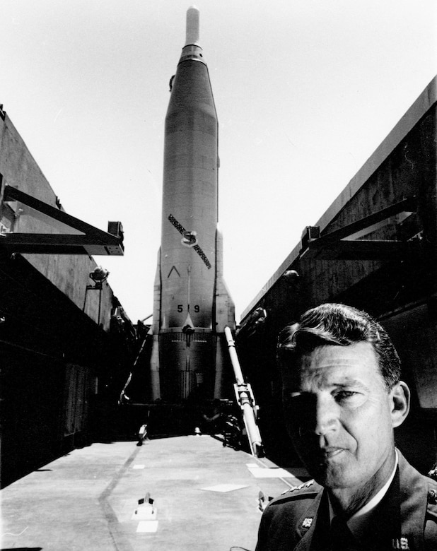 Atlas, the Air Force's first Intercontinental Ballistic Missile, was a national priority and one of Gen. Schriever's major achievements. (U.S. Air Force photo)